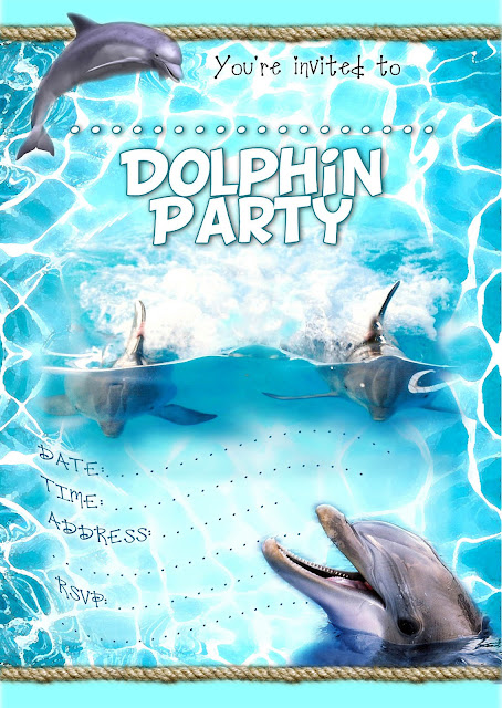 Dolphin Party Free Printable Invitation