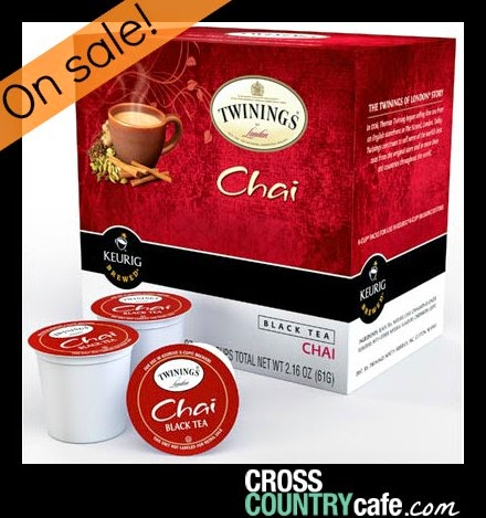 Cross Country Cafe Wacky Wednesday Sale Twinings Chai Tea k-cups Kuerig