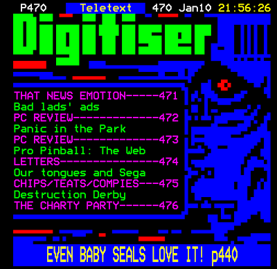 Teletext Digitiser - front page from the mid 1990s.