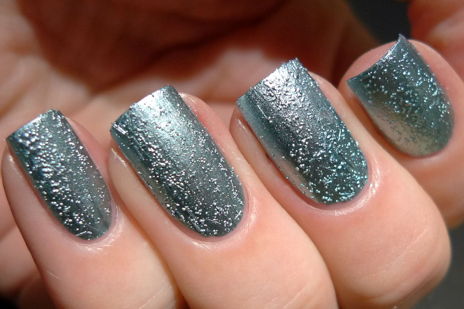 China Glaze Crinkle Chrome Don't Be Foiled teal chrome texture