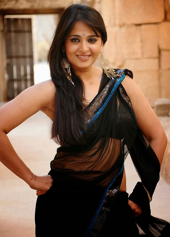 anushka shetty hot cleavage navel transparent black saree