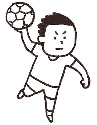ハンドボール選手のイラスト(スポーツ) モノクロ線画