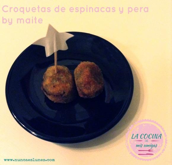 receta croquetas espinaca y pera