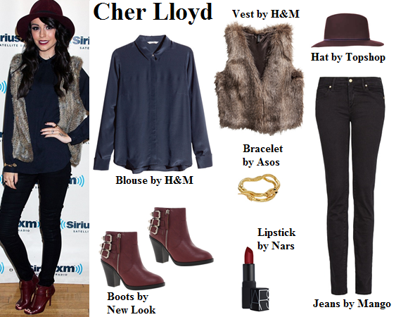 outfit, fall, cher lloyd, burgundy, navy blue