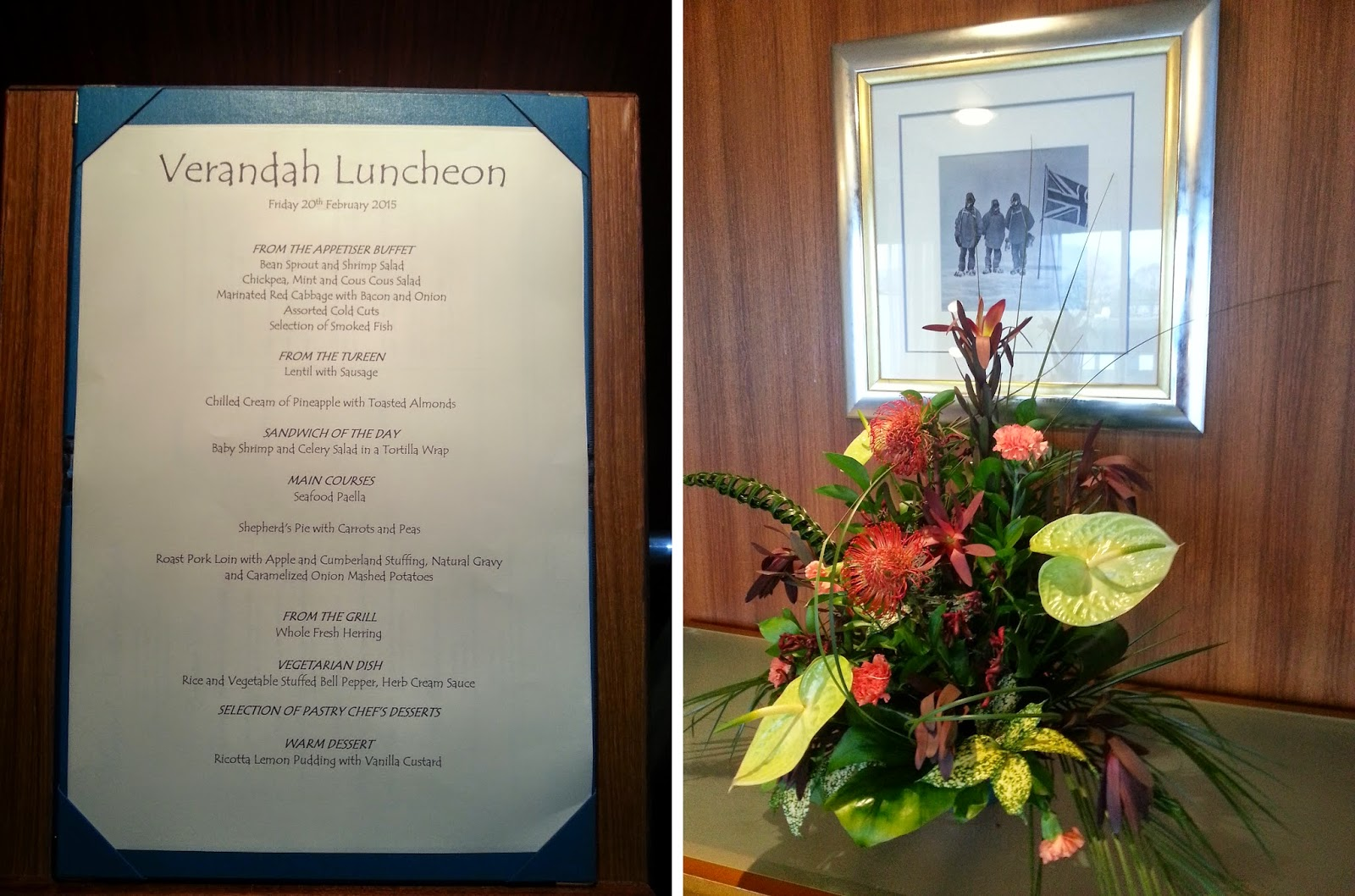 Cruise Ship Saga Pearl II - Verandah Restaurant Lunch Menu
