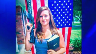 woman with gun, US flag, and Bible