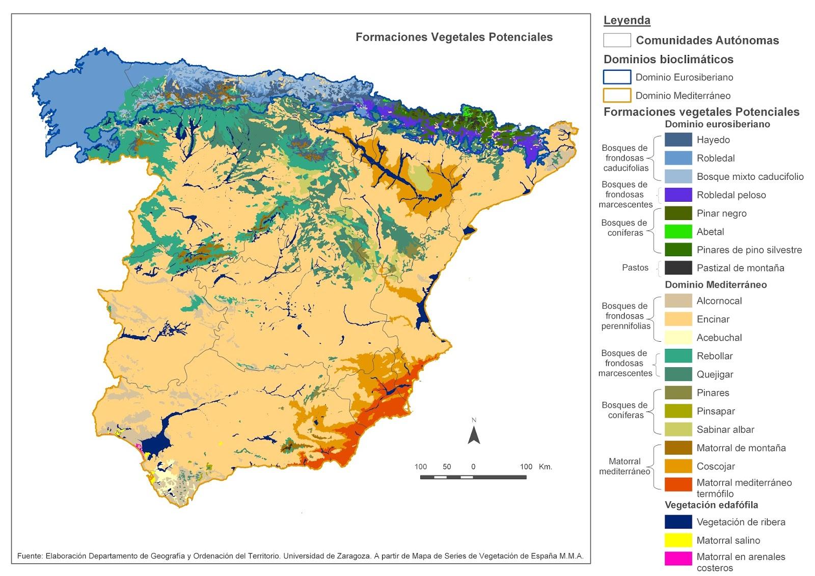 Educacin Forestal  Forestales en Almzcara Mapa de vegetacin