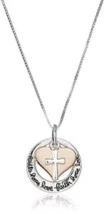 "Two-Tone Sterling Silver and Rose Gold-Flashed ""Faith Hope Love"" Cross Charm Pendant Necklace, 19.5"