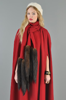 Vintage 1970's red wool maxi cape with sable tail fur details and tie front closure.