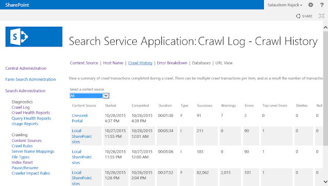 sharepoint 2013 crawl history