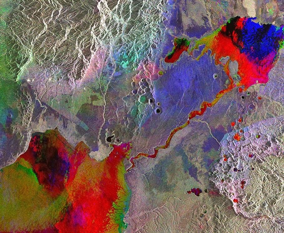ESA ENVISAT Radar Image Western Uganda lakes