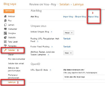 Cara menghapus blog blogspot