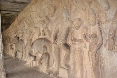 Lord Krishna holding the mountain in caves , mahabalipuram