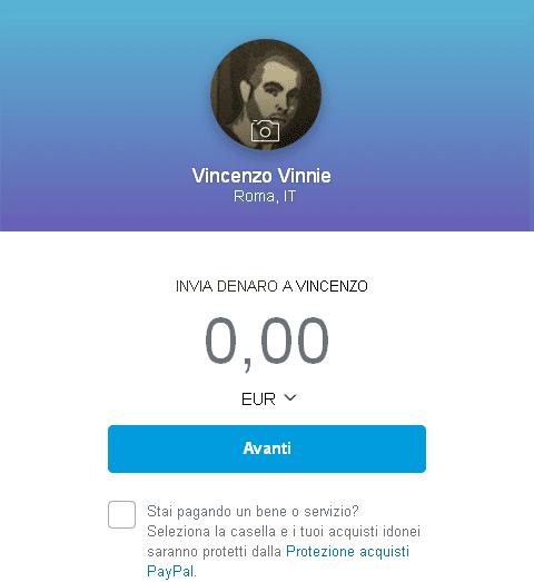 PayPalme pagina per inviare denaro