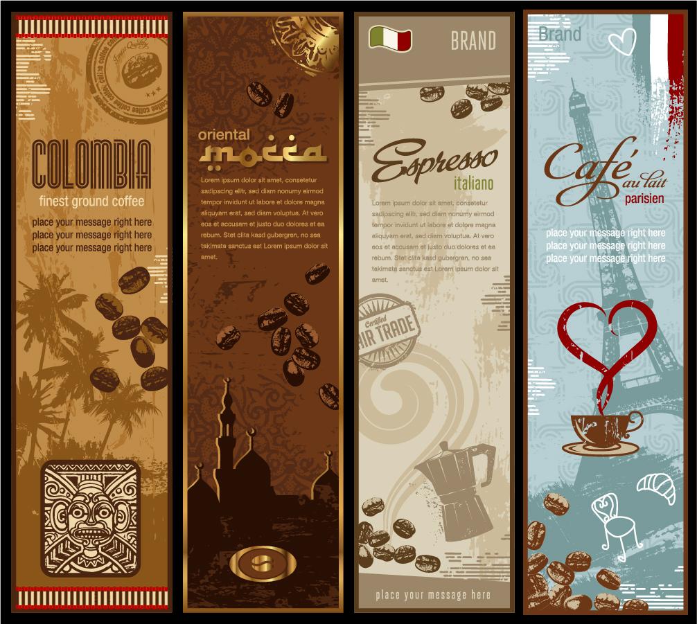 珈琲豆を題材にしたバナー coffee beans theme banner イラスト素材