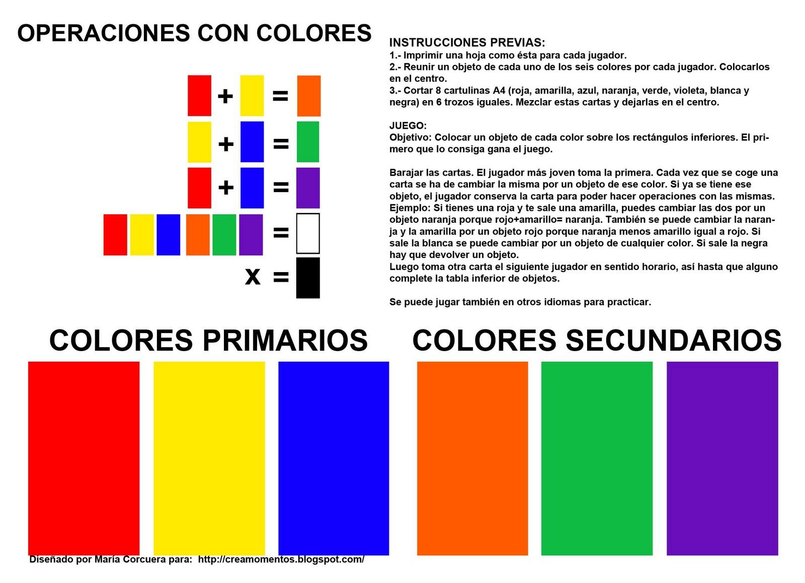 divertido juego de mesa con los colores primarios y secundarios