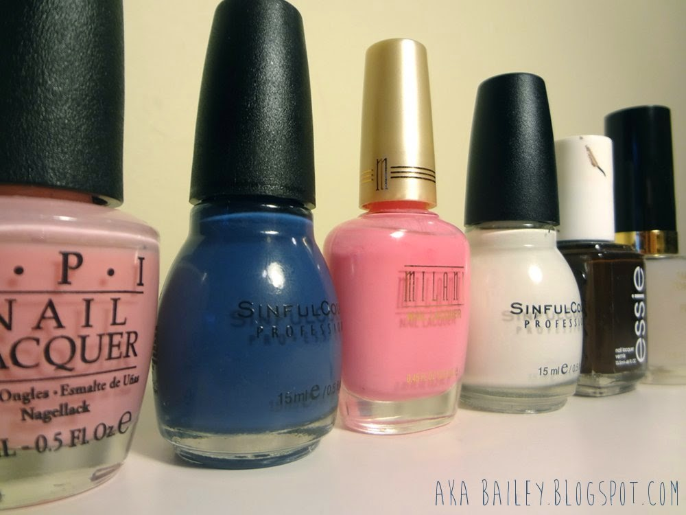OPI Isn't That Precious, Sinful Colors Rain Storm, Milani Tip Toe Pink, Sinful Colors Snow Me White, Essie Little Brown Dress, and a Revlon Matte Top Coat