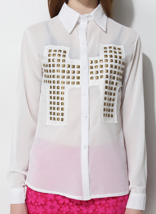 Cut Out Back Studded Cross Blouse