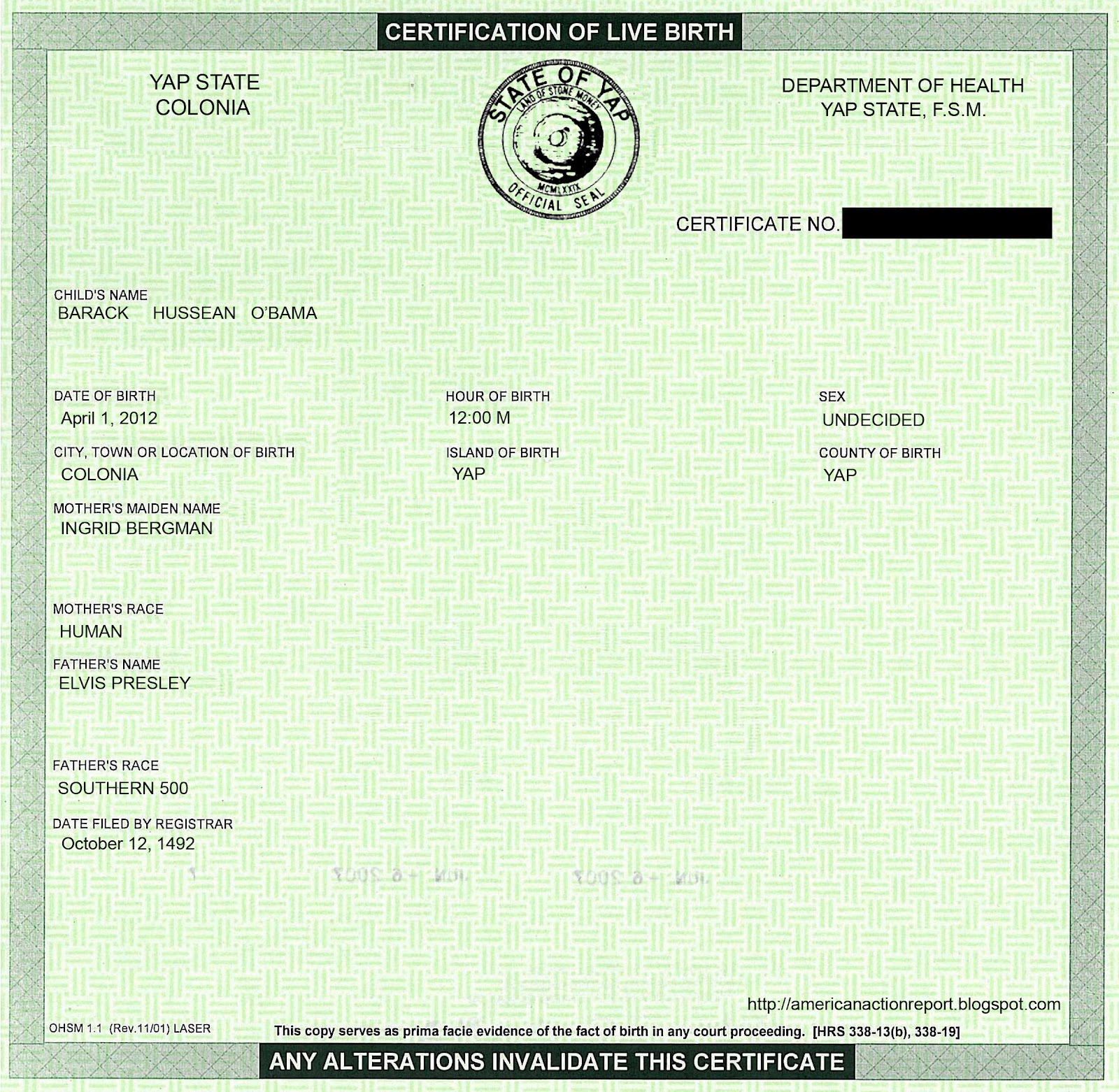 American Action Report: How I Faked Obama\'s Short-form Birth Certificate