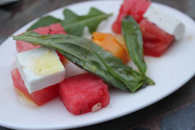 Watermelon and feta salad at Aragosta, Boston, Mass.