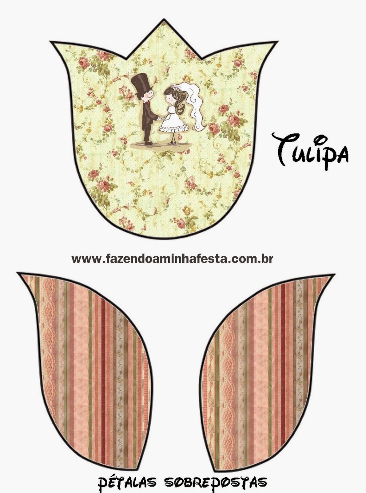 Tarjeta con forma de tulipán.