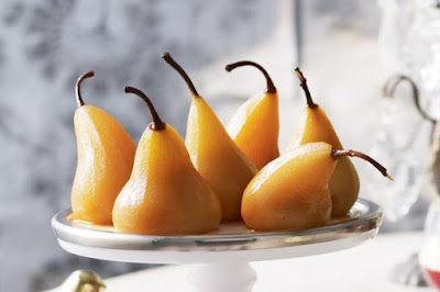 Poached pears with fruit mince stuffing Recipe