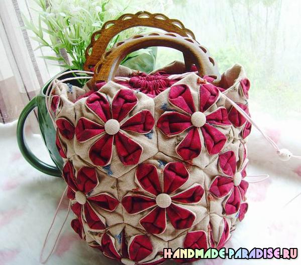 Лоскутная летняя сумка в технике оригами