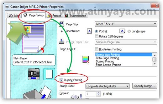 Gambar: Mengatur setting printer Canon Inkjet MP510 untuk print halaman bolak balik (duplex printing)