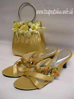 tas pesta dan slop pesta , sandal pesta online shop