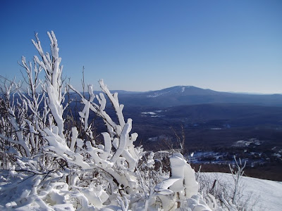 Snowmaking overnight whitened the trees at Bromley's summit. Looking towards Stratton Mountain.    The Saratoga Skier and Hiker, first-hand accounts of adventures in the Adirondacks and beyond, and Gore Mountain ski blog.