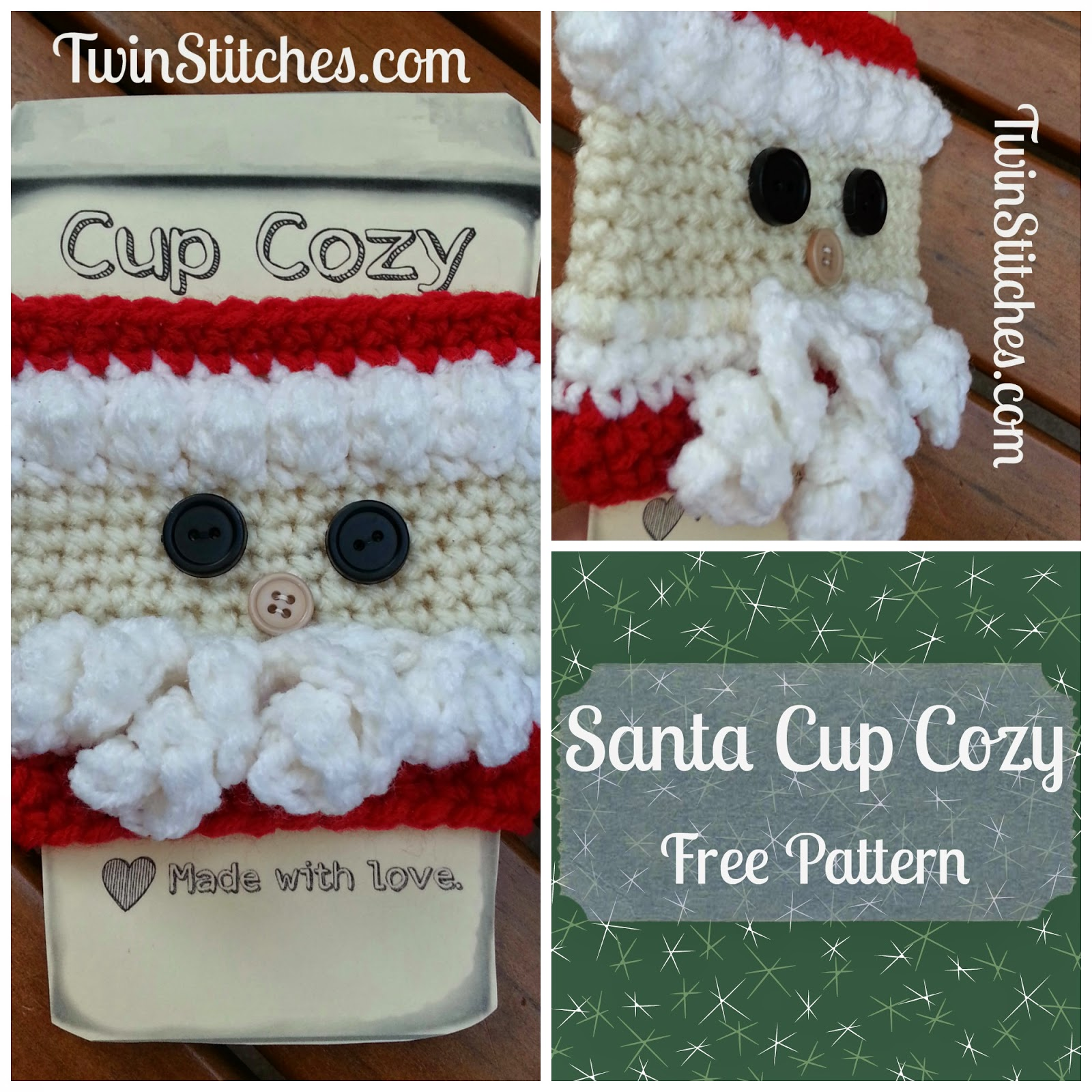 Santa Cup Cozy from Tw-In Stitches Blog