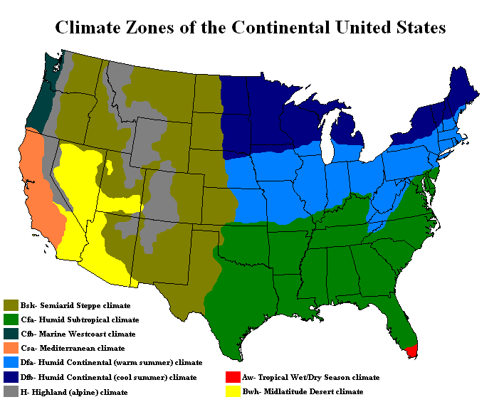 Climate Zones Of The Continental US Vivid Maps - Continental us map