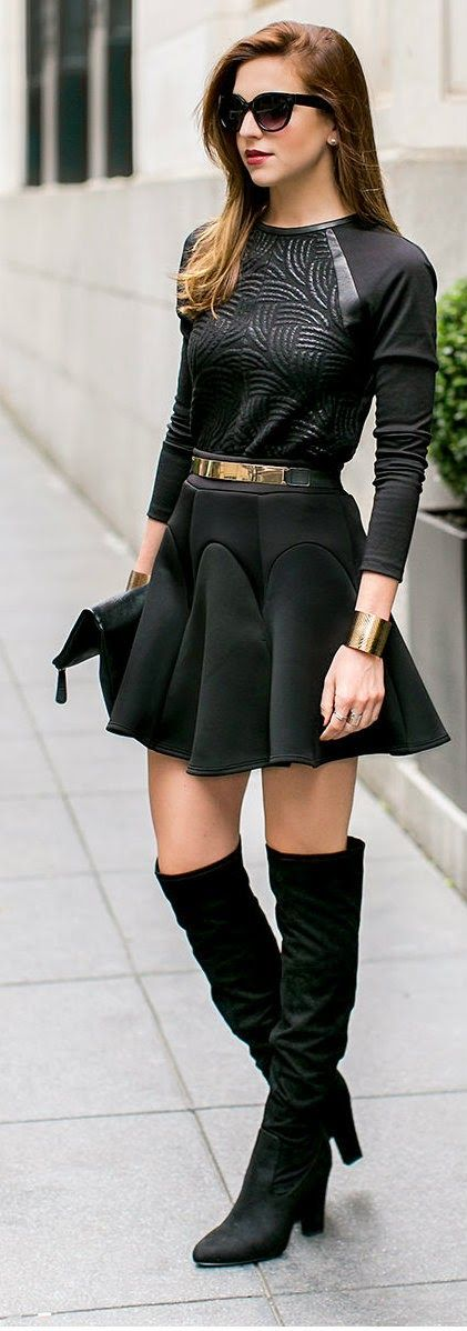 SUPPER POWERS - fluted scuba skater skirt, high heels over the knee boots, svelte metals cuffs, elastic waist belt / Vanilla Extract