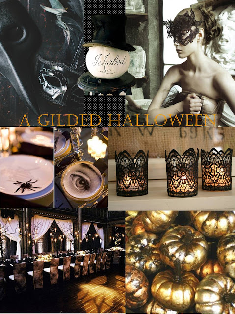 black and gold halloween, halloween inspiration board