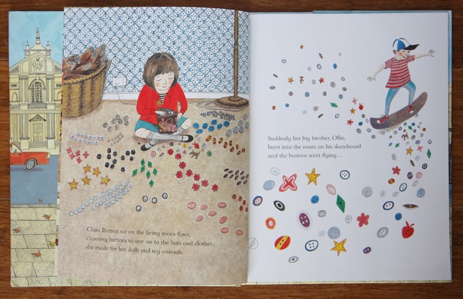 Clara Button and the Magical Hat Day by Amy de la Haye and Emily Sutton, Clara with her buttons