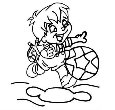 a desenhar Crianças brincando de bola sorrindo