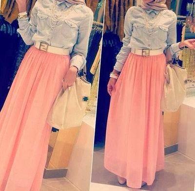 Mode Hijab style jupe