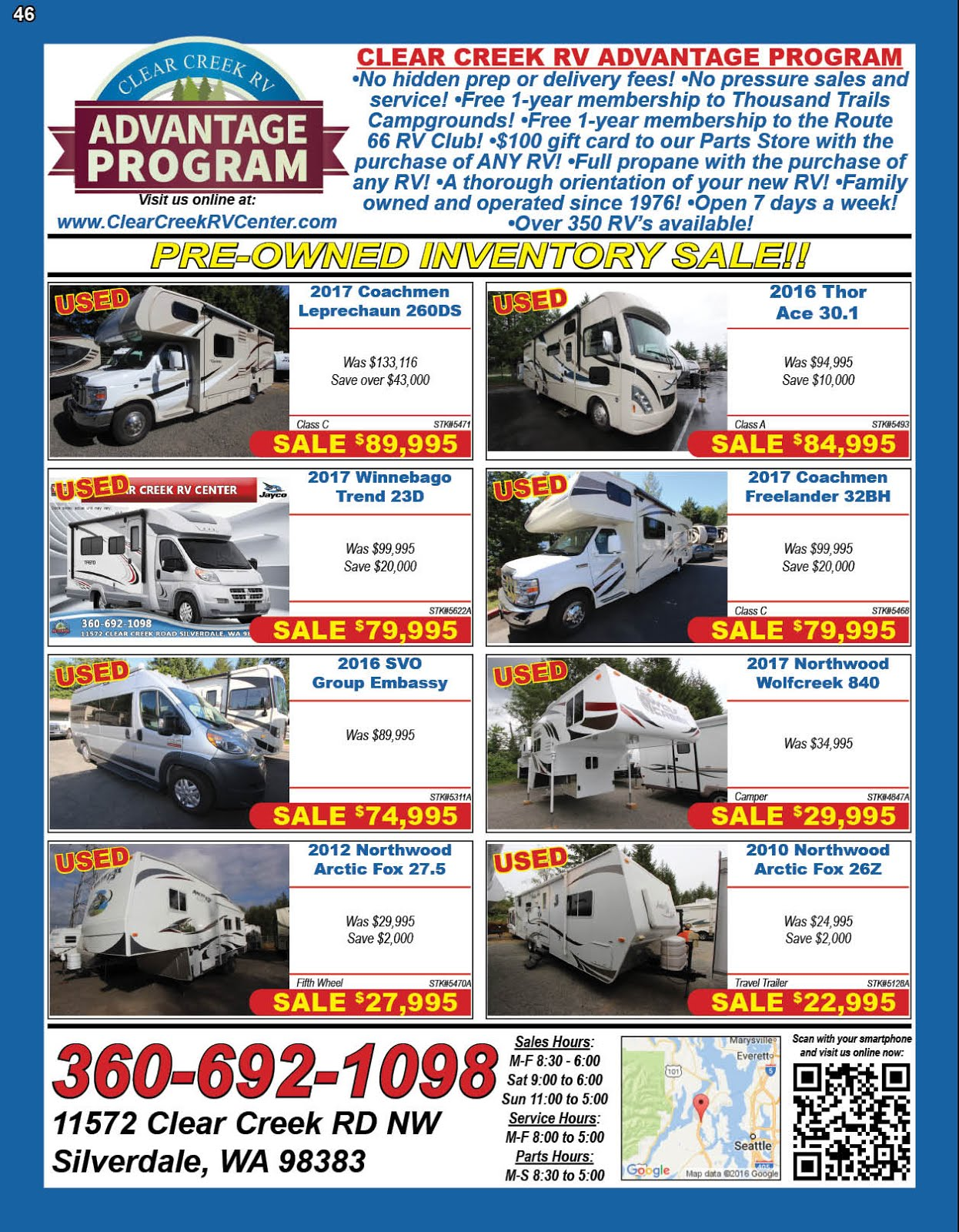 Clear Creek RV Center Clear Creek RV Advantage Program on New Inventory!!