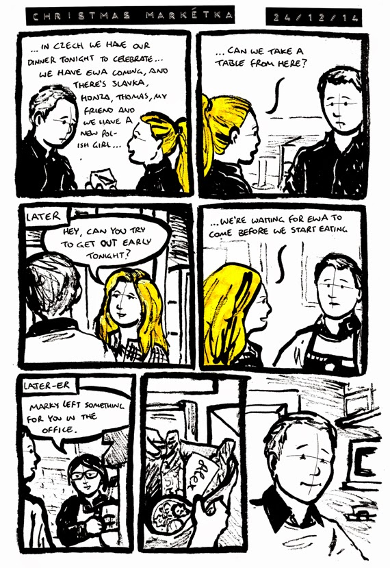 Comic where Marketa surprises Alex with some xmas gifts as he works on christmas eve