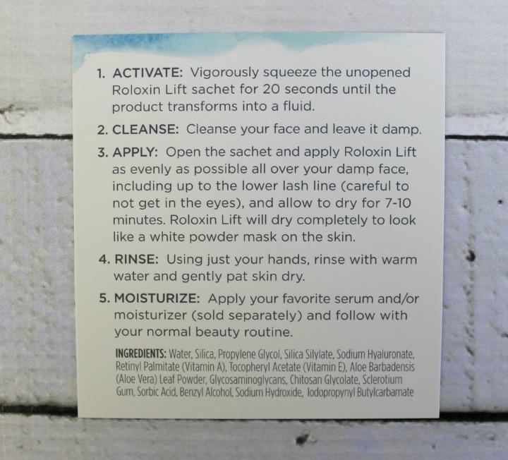 Roloxin™ Lift Revitalizing Facial Treatment instruction ingredients