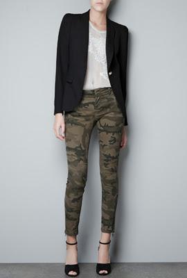 pantalones camuflaje mujer Zara