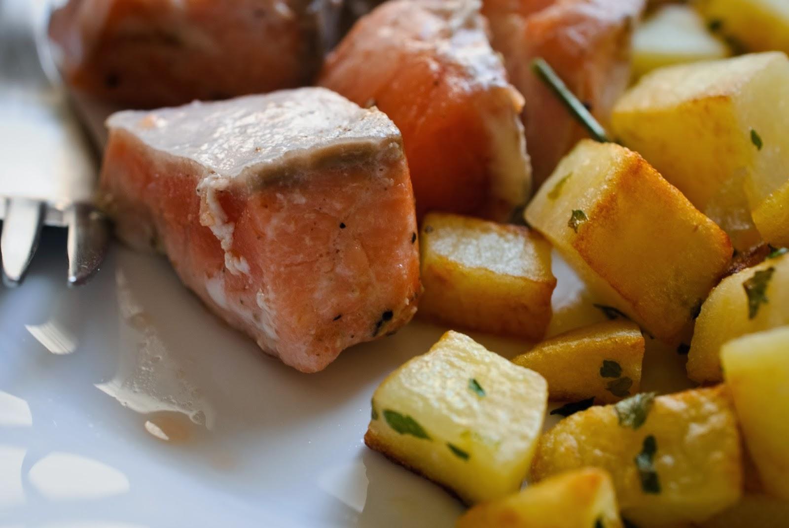 salmón, patata