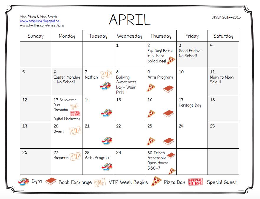 April Calendar Kindergarten : Miss pliura s kindergarten class april calendar