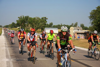 RAGBRAI bicyclists in rural Iowa