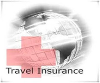 Travel insurance with red cross emblem and world