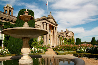 Image of the front of Bowood House with a fountain in the foreground