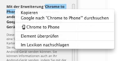 Google Chrome to Phone-Erweiterung