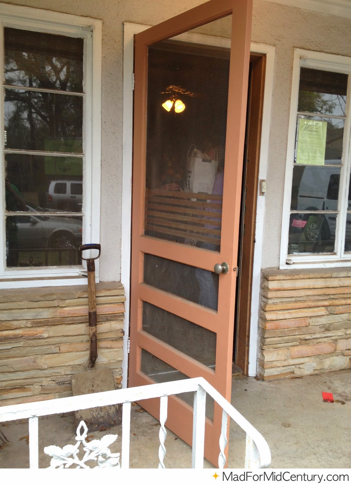 Mad For Mid Century Brown Vintage Screen Door On A Mid Century Home