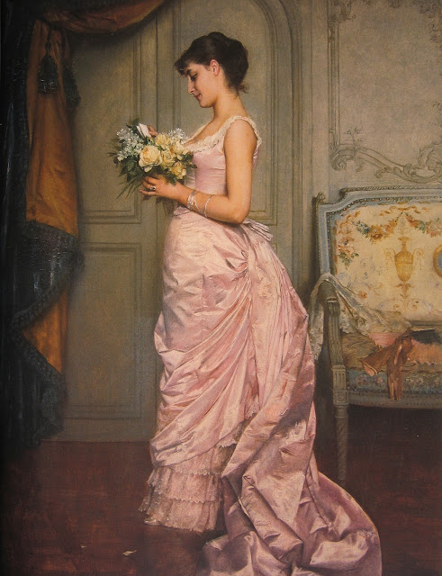 pink dress,Auguste Toulmouche,french painter