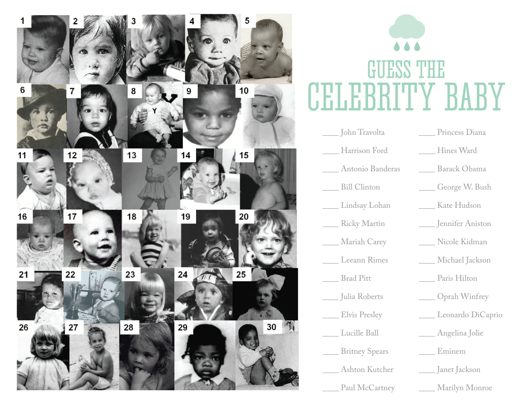Celebrity baby match game for showers